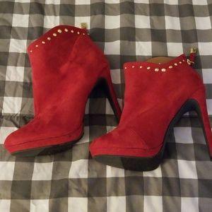 Hot Red Suede booties